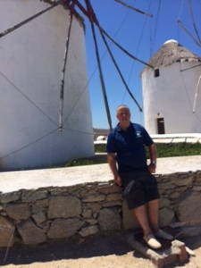 Les on Mykanos- having a break from organizing golf